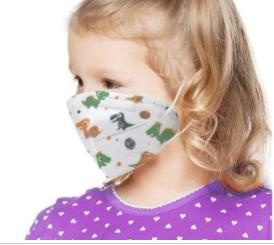 Masque facial pliable jetable pour enfants avec boucles d'oreille